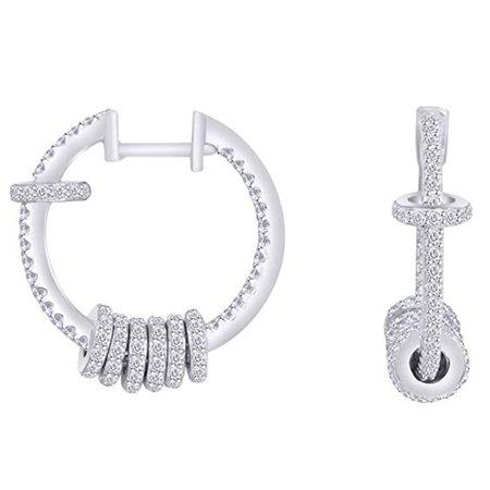 Hoop Round Ring (Wishrocks Round Shape Cubic Zirconia Sliding Ring Hoop Earrings 14k White Gold Over Sterling Silver)