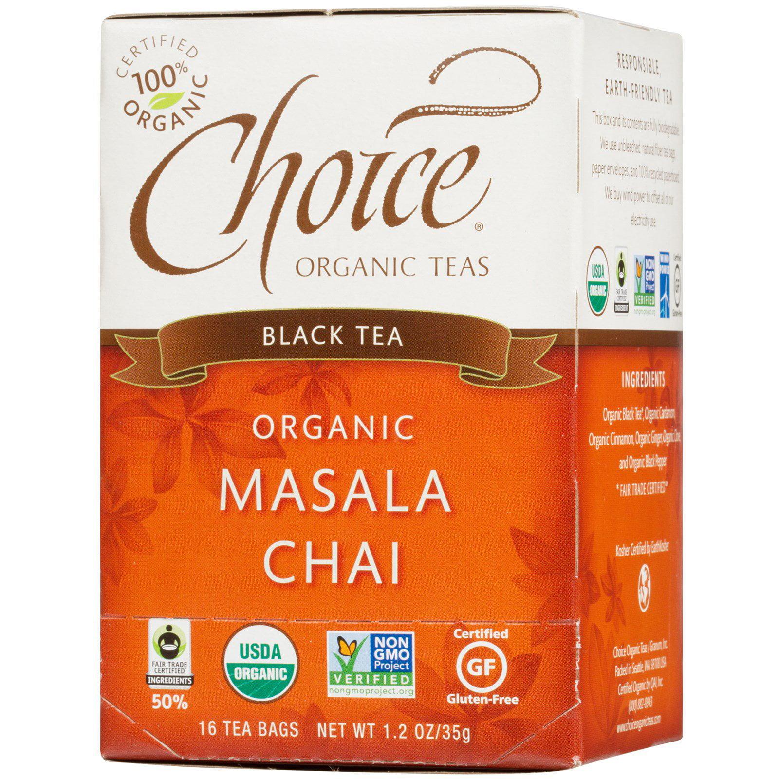 Choice Organic Teas, Black Tea, Organic, Masala Chai, 16 Tea Bags, 1.2 oz(pack of 4)