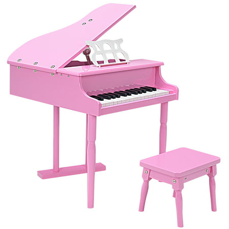Childs 30 key Toy Grand Baby Piano w/ Kids Bench Wood Pink (Used Baby Grand Piano)