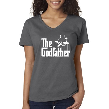 New Way 908 - Women's V-Neck T-Shirt The Godfather Gangster Movie Italian Mob XS Charcoal - Womens Gangster Clothing