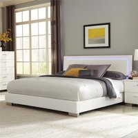 Bowery Hill King LED Panel Bed in Glossy White
