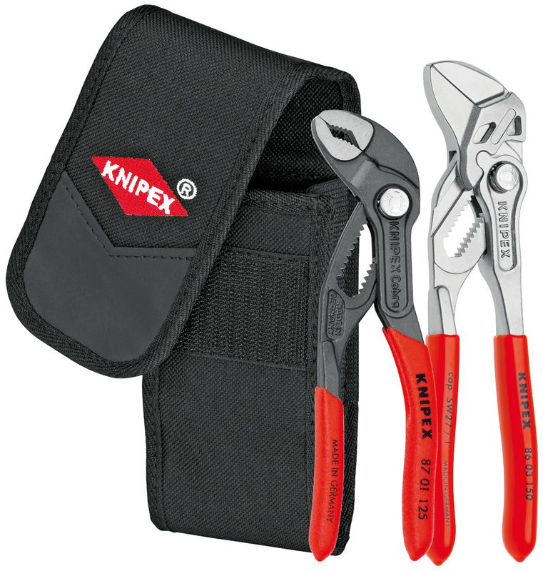 KNIPEX Tools 00 20 72 V01, Mini Cobra Pliers and Pliers Wrench 2-Piece Set with Belt Pouch