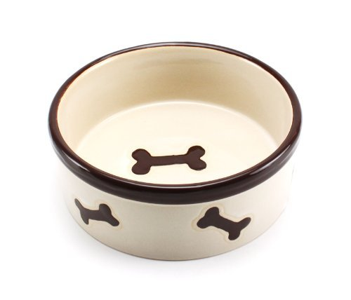 Precious Tails Heavy Ceramic Dog Bowl Cat Bowl Ivory