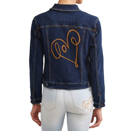 Love Scribble Denim Jacket Women's (Dark (Stretch Womens Denim Jacket)