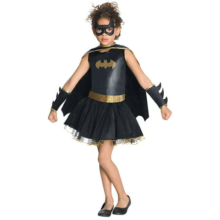 Batgirl Tutu Dress (Justice League Child's Batgirl Tutu Dress - Medium, Batgirl pull-over costume dress with glittery logo, removable cape, eye mask, belt, and gauntlets By)