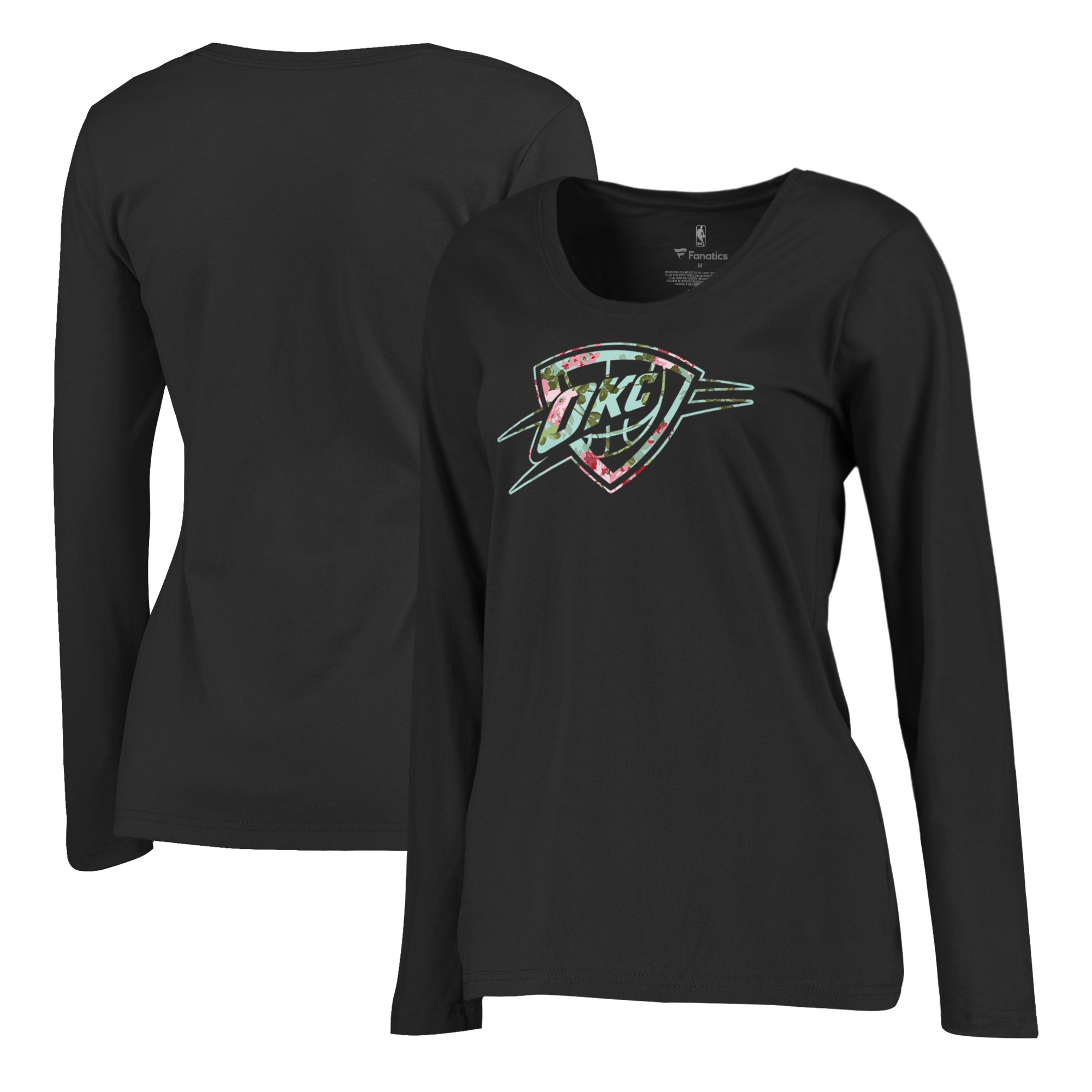 Oklahoma City Thunder Fanatics Branded Women's Lovely Plus Size Long Sleeve T-Shirt - Black