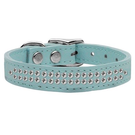 Image of Mirage 83-21 16BBL Two Row Clear Jeweled Leather Dog Collar Baby Blue 16