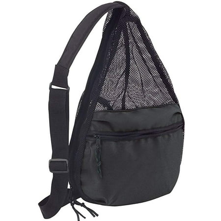 ImpecGear Polyester Small Lightweight Zippered Travel Portable Mesh Backpack (Black - Pack of 1)