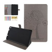 Kindle Fire HD 10 Tablet Case, Dteck Embossed Tree & Owl Premium PU Leather Case Flip Folio Stand Magnetic Cover with Card Holder/Pocket For Amazon Fire HD 10 inch (2015/2017), Gray
