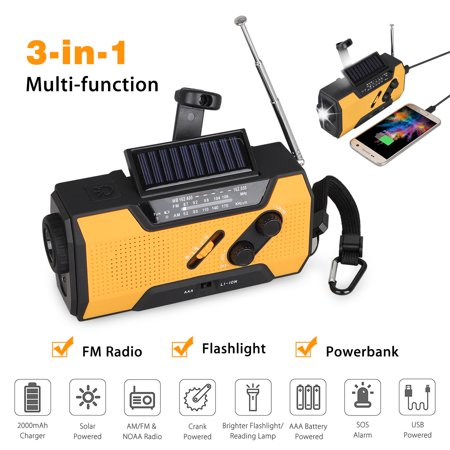 EEEKit Solar Hand Crank Portable Radio, NOAA Weather Radio for Household and Outdoor Emergency with AM/FM, LED Flashlight, Reading Lamp, 2000mAh Power Bank USB Charger and SOS