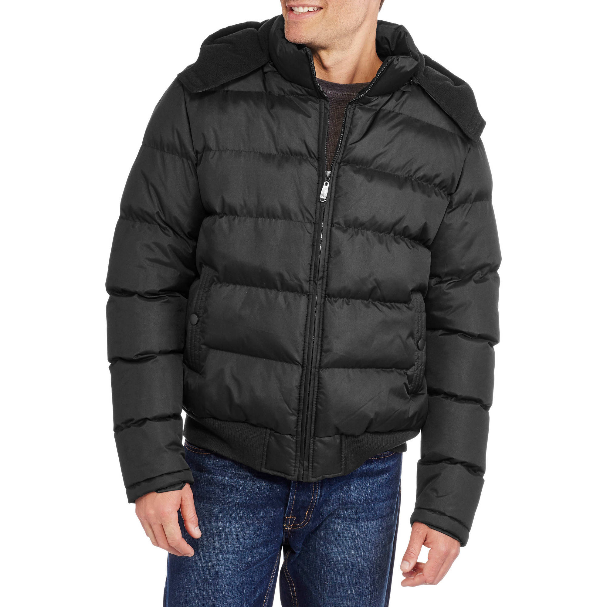 Climate Concepts Men's Hooded Bubble Ribbed Bomber Jacket