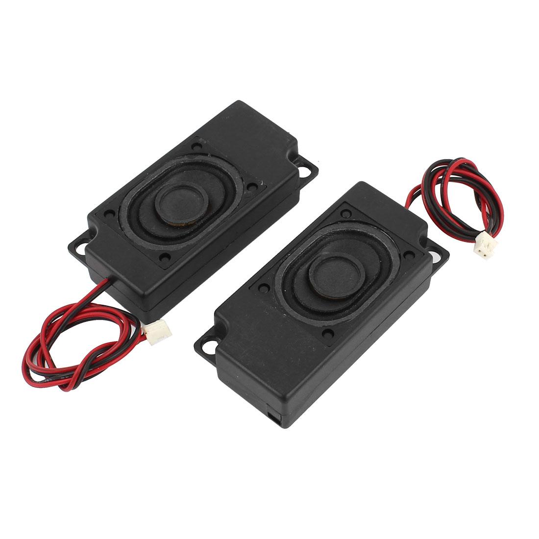 Unique Bargains 2Pcs 70mm x 33mm Plastic Shell 2-Leads Audio Speaker Black 8 Ohm 2W