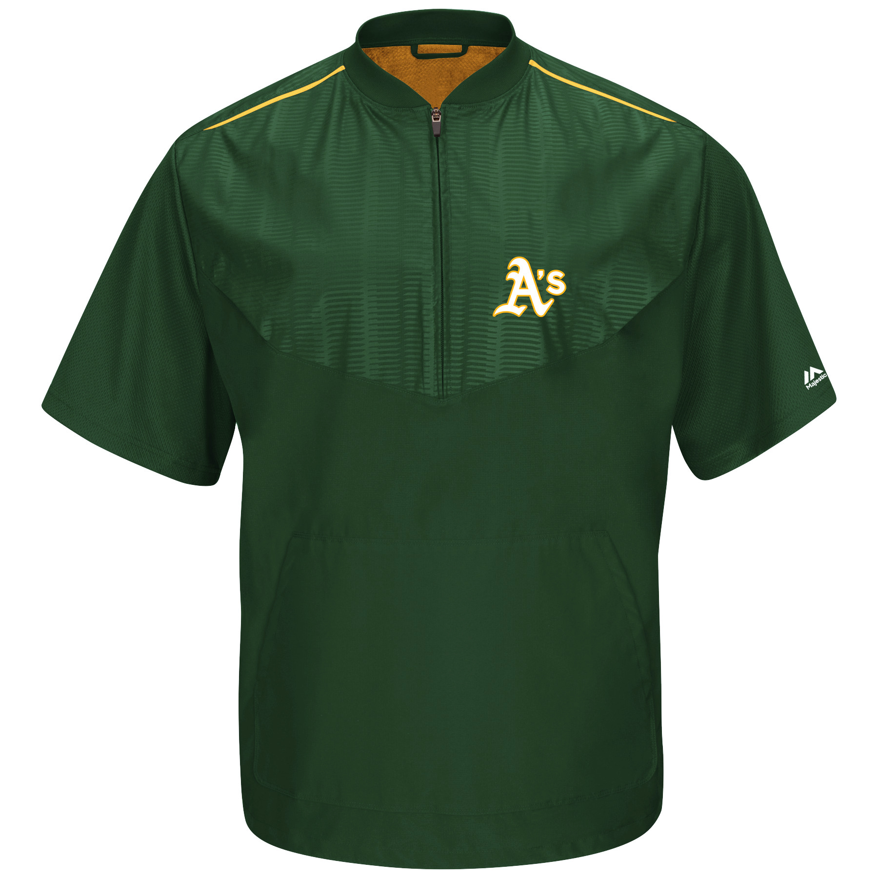 Men's Majestic Green Oakland Athletics Big & Tall Cool Base On Field Short Sleeve Training Jacket