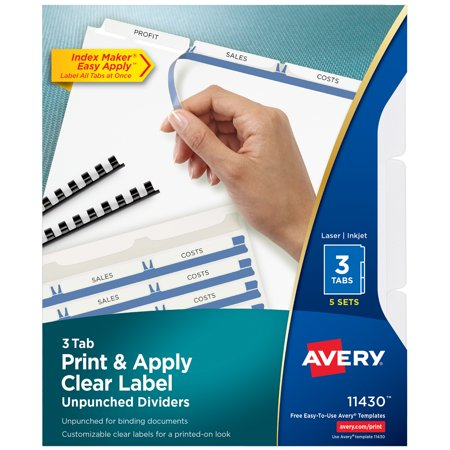 Avery 3-Tab Unpunched Binder Dividers, Easy Print & Apply Clear Label Strip, Index Maker, White Tabs, 5 Sets (Unpunched Index Maker)
