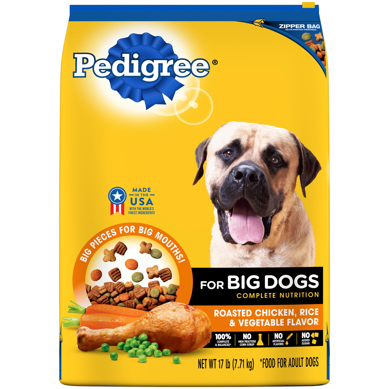 Pedigree For Big Dogs Adult Complete Nutrition Dry Dog Food, Roasted Chicken, Rice & Vegetable Flavor, 17 Lb