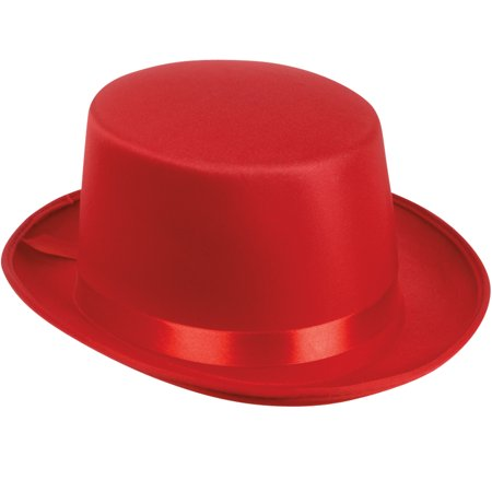 Loftus Adult Satin Ribbon Halloween Costume Top Hat, Red, One-Size (7.25
