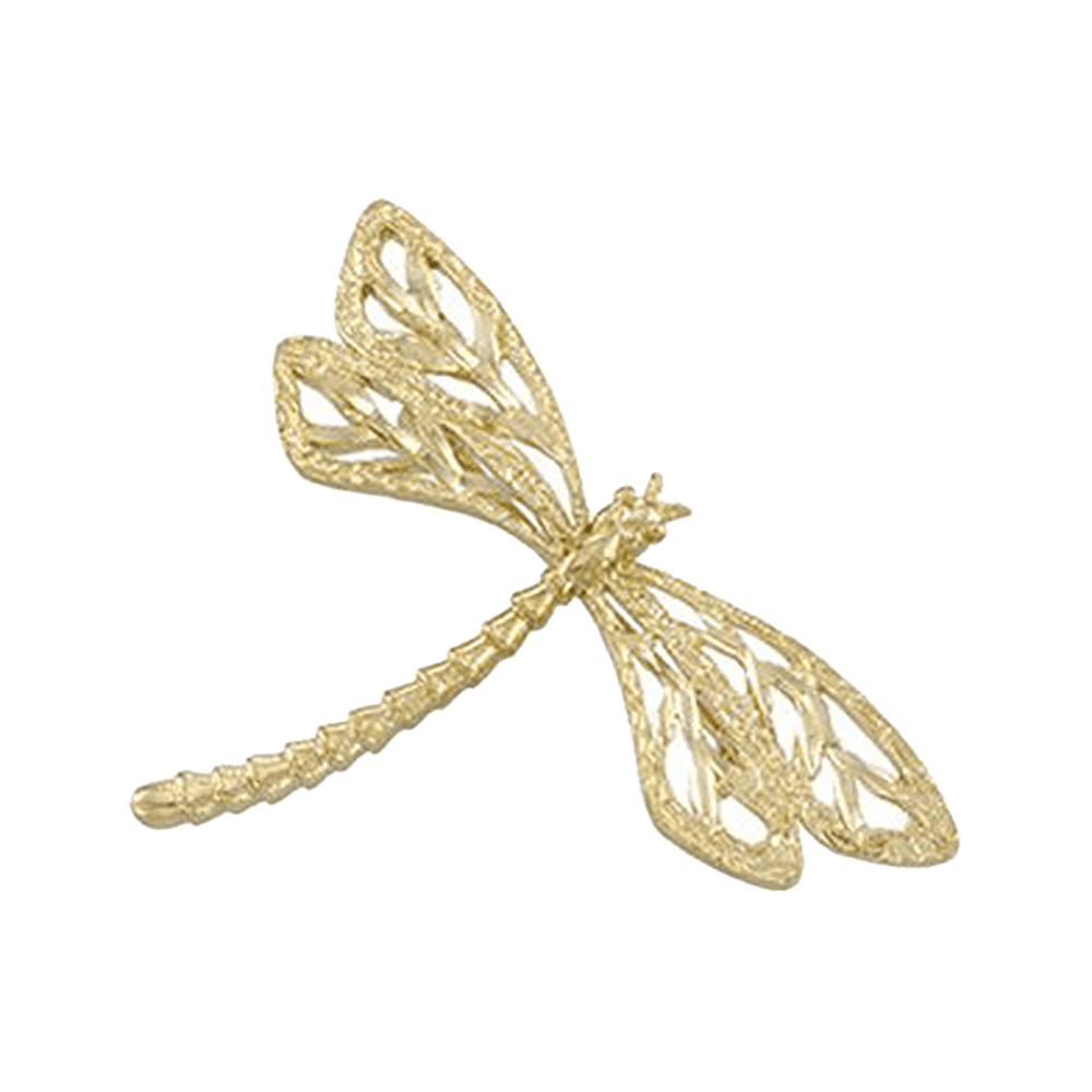 14K Yellow Gold Flying Dragon Fly Pin Brooch by