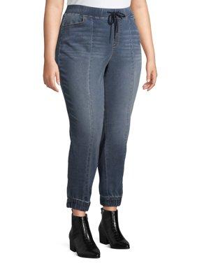 Terra & Sky Women's Plus Size Knit Denim Jogger