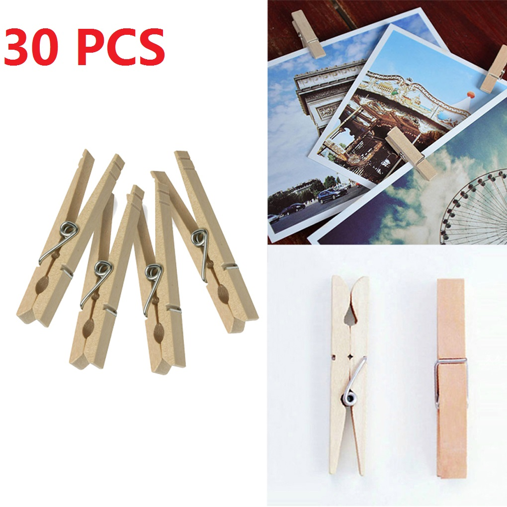 Holiday Clearance 30PCS New Clothes Pins Traditional Wooden Spring Clothespins Photoes Pins