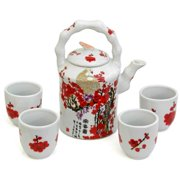 ORIENTAL FURNITURE Handmade Porcelain Red and White Cherry Blossom Tea Set (China)