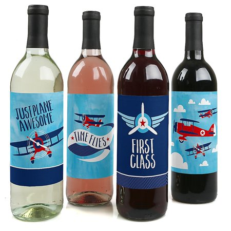 Taking Flight - Airplane - Vintage Plane Baby Shower or Birthday Party Decorations for Women and Men - Wine Bottle Label Stickers - Set of - Airplane Party