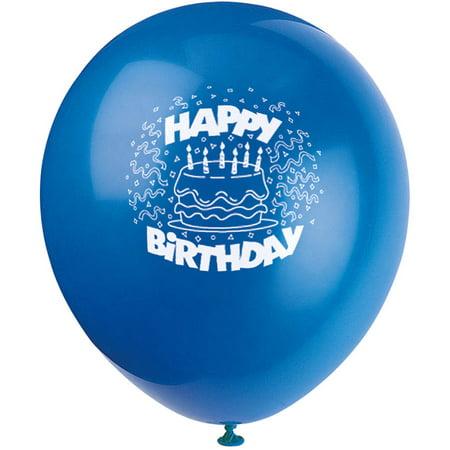 12 Latex Royal Blue Cake Happy Birthday Balloons 8ct