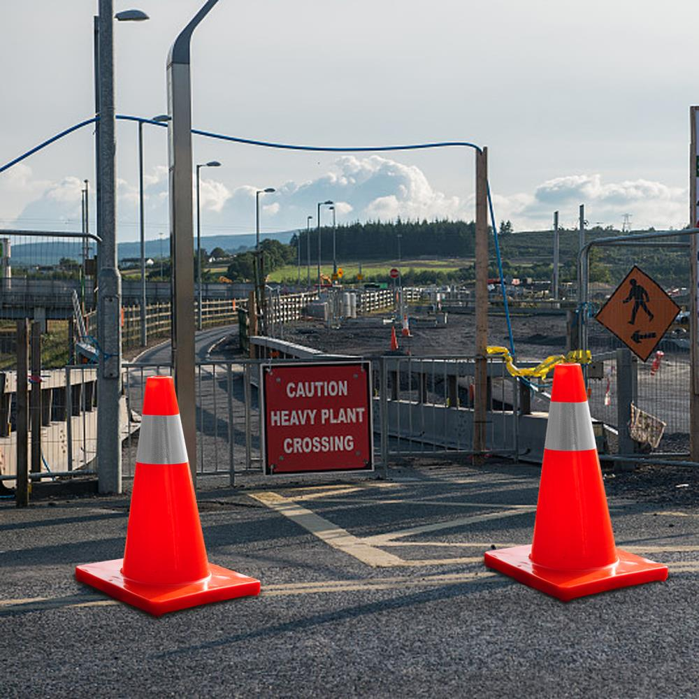 5Pcs Orange Slim PVC Emergency Safety Parking Highway Strip Road Cones PC