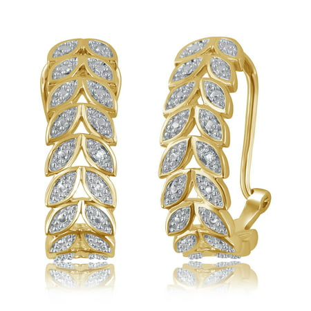 Yellow Gold Metal Fashion Earrings (Genuine 0.02 Carat Natural Diamond Accent Earrings In 14K Yellow Gold Plated )