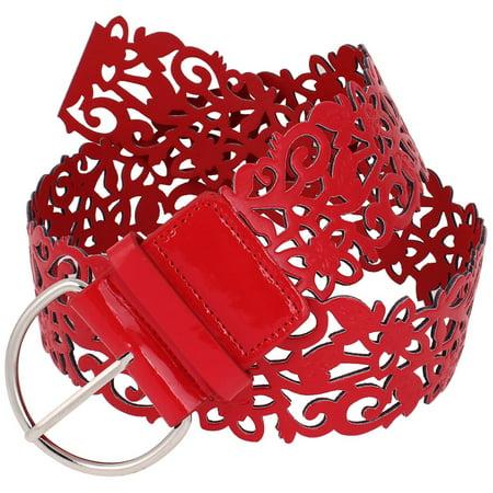 Unique Bargains Women's Metal D Shaped Buckle Hollow Out Faux Leather Belt Red - Oval Shaped Belt Buckle