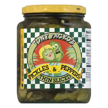 Pickle Slices - Tony Packo Thin Sliced Pickles & Pepppers, 24 OZ (Pack of 6)