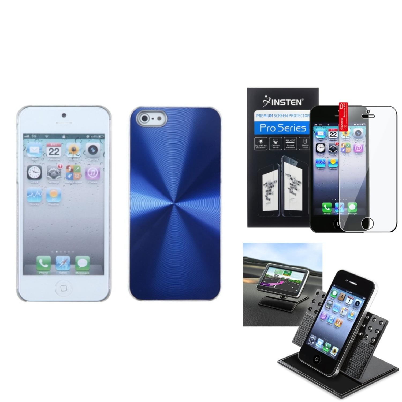 Insten Film+Holder+For iPhone 5S 5 Blue Case Cosmo Slim Aluminum Back Clip On Sprint