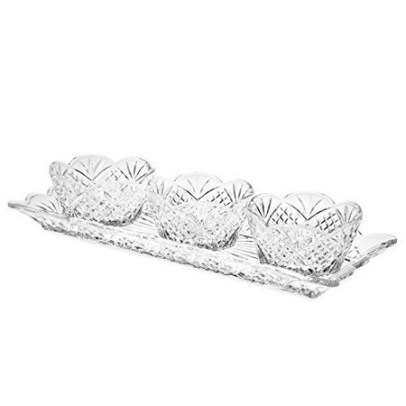 Dublin 4-Piece Non-Leaded Crystal Relish Server Serving Tray Set](Server Tray)