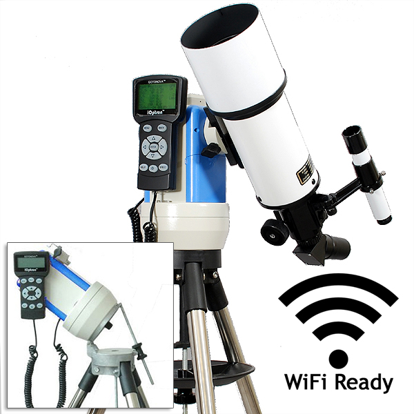 Twinstar 80mm GPS Computerized Refractor Telescope with EQ Mount and iOptron StarFi Wi-Fi Adapter, White