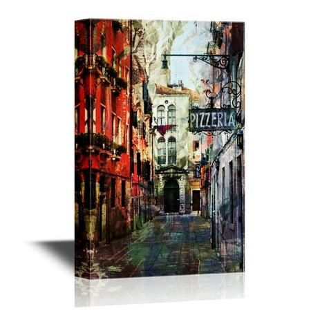 wall26 European Town Canvas Wall Art - Watercolor Style European ...