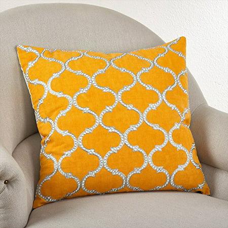 "Stitched Lattice Design Throw Pillow, 3 Colors (Square 20""x20"", Marigold )"