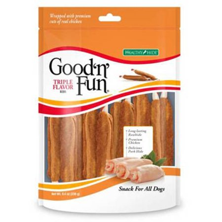 Pork Rawhide - Good'n'Fun Triple Flavor Rawhide Ribs for Dogs, 8.4 oz.