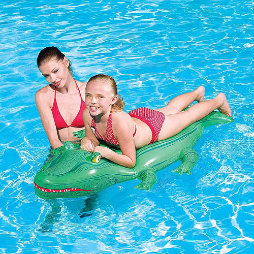 "Splash and Play Crocodile 66"" Inflatable Ride-On Pool Toy"