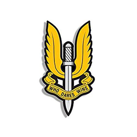 YELLOW: SAS Who Dares Wins Insignia Shaped Sticker Decal (british uk sword wings) Size: 3 x 4 inch - Halloween Stickers Uk