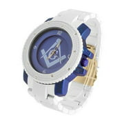 Blue Dial Freemason Watch White Blue Finish Lab Created Cubic Zirconia Bezel Tricolor Designer