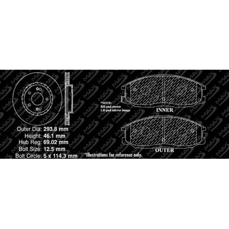 Max Brakes Front Premium Brake Kit [ OE Series Rotors + Ceramic Pads ] KT126341 | Fits: 2004 04 Hyundai Santa Fe w/11.57'' Front Rotors - image 4 of 8
