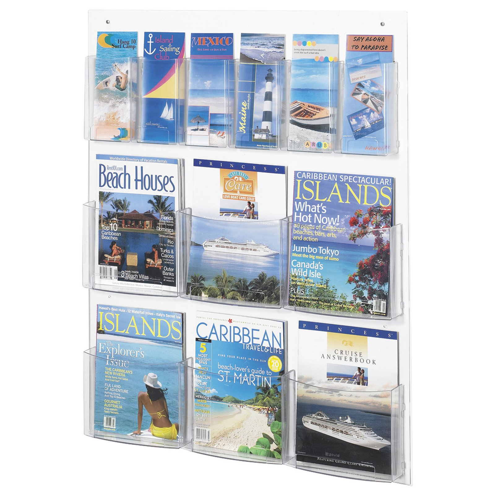 6 Magazine & 6 Pamphlet Display Rack - Clear