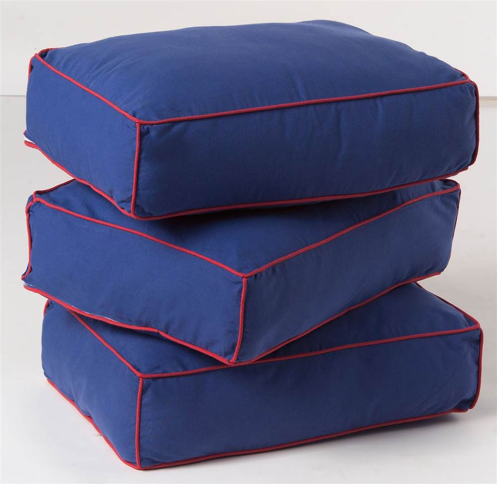 Thick Back Cushions w Cotton Covers - Set of 3