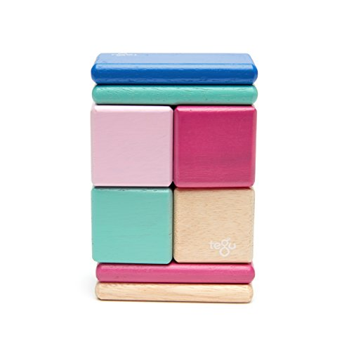8 Piece Tegu Pocket Pouch Magnetic Wooden Block Set Blue