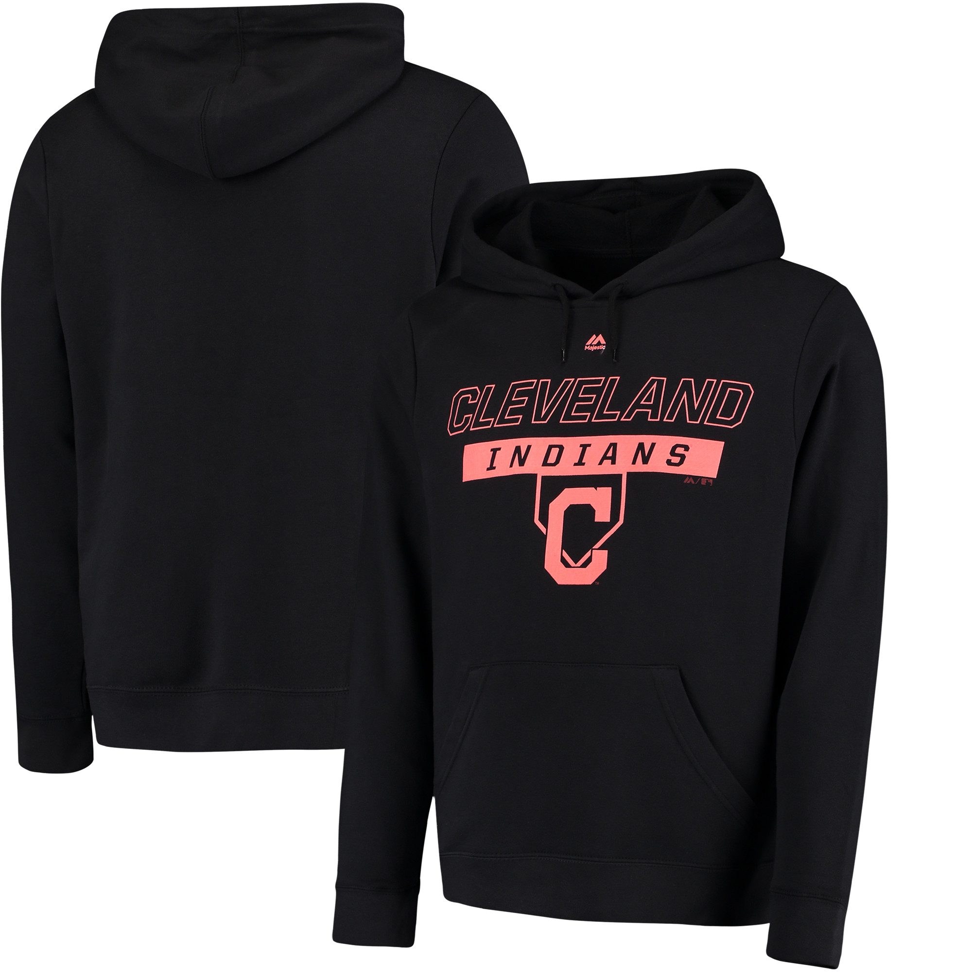 Cleveland Indians Majestic Ready and Able Pop Logo Pullover Hoodie - Black