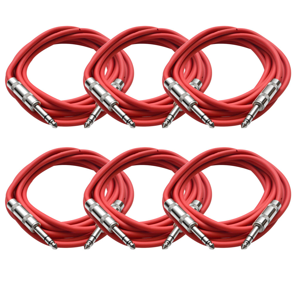"""Seismic Audio  New 6 PACK Red 1/4"""" TRS 10' Patch Cables Red - SATRX-10Red6"""