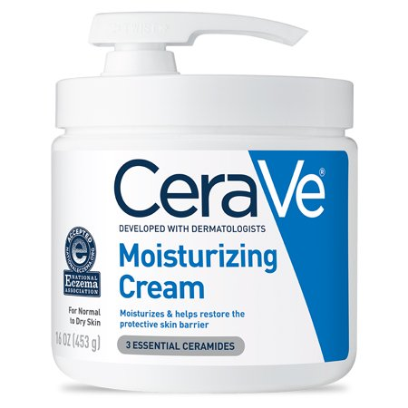 CeraVe Moisturizing Cream with Pump, Body Cream for Dry Skin, 16