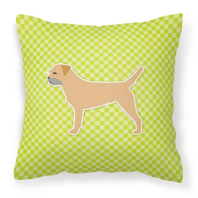Carolines Treasures BB3789PW1818 Border Terrier Checkerboard Green Fabric Decorative Pillow - image 1 de 1