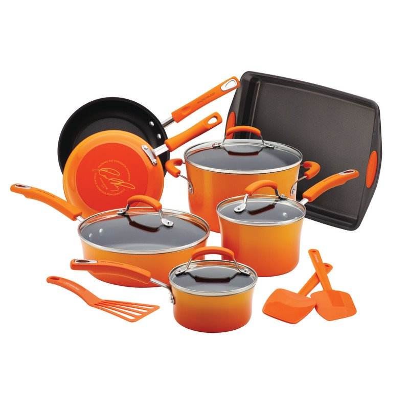 Rachael Ray Porcelain 14 Piece Cookware Set in Gradient Orange