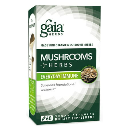 Gaia Herbs Mushrooms Plus Herbs Everyday Immune Vegan Capsules, 60 Ct