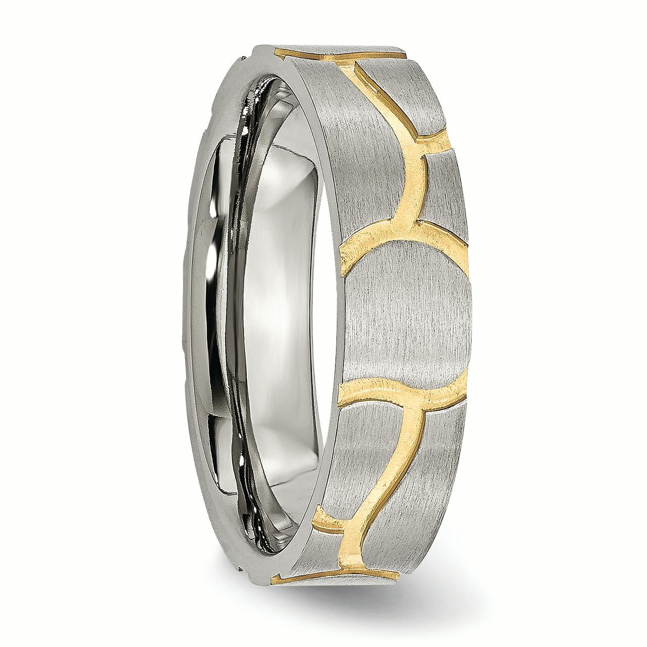 Stainless Steel Grooved Yellow Plated Ladies 6mm Brushed Wedding Ring Band Size 8.00 Fancy Fashion Jewelry Gifts For Women For Her - image 5 de 6